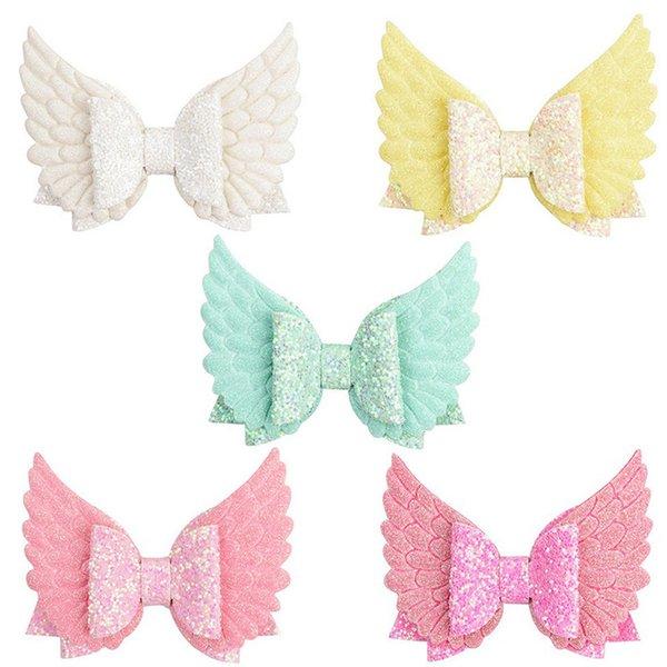 New Cute Angle Wing Hair Clip Girls Barrettes Sequins Glitter Hair Bows Kids Hair Accessories Hairpin 026