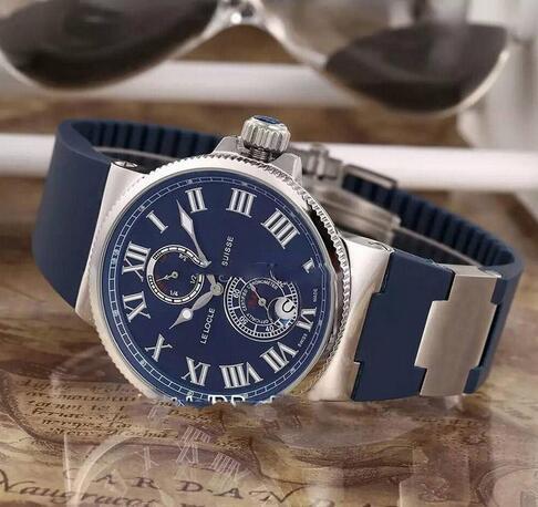 Nova Ulysse Marine Maxi 263-67-3 / 43 Caixa De Aço Azul Data de Reserva de Energia Automática Mens Watch Azul Borracha Strap Sports Watch 8 Cores UN87