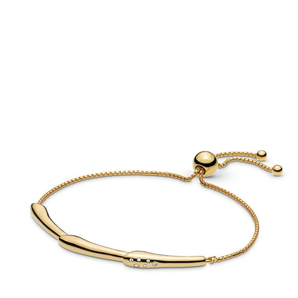 Frühling Golden Shine Charm Armbänder für Frauen Männer Sterling Silber Armbänder Schmuck Blume Vorbau Schieben Anpassen Kette
