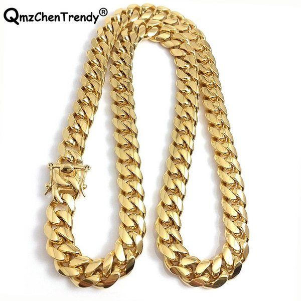 316l Stainless Steel Jewelry High Polished Cuban Link Necklace For Men Punk Curb Chain Dragon-beard Clasp 61cm*15mm J190526
