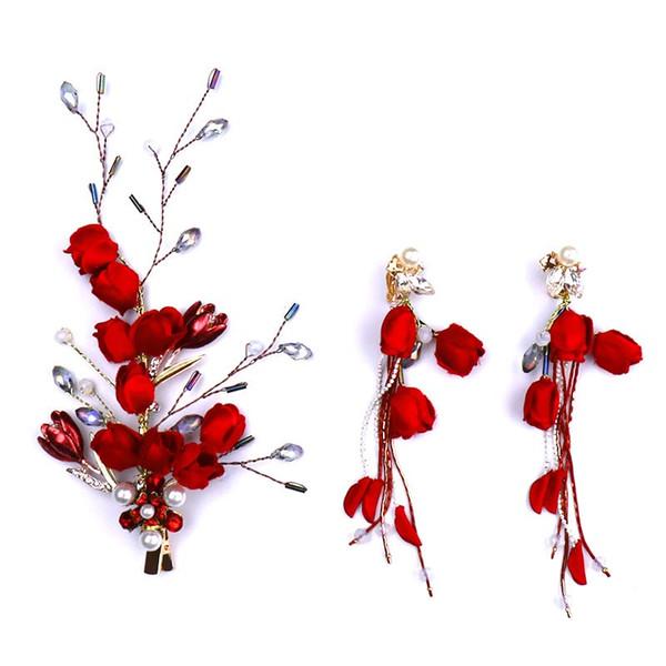 Women Vintage Style Hair Pins Bridal Wedding Rose Flower Hair Accessories Girls Bridal Wedding Tassel Earrings Hairpins Set