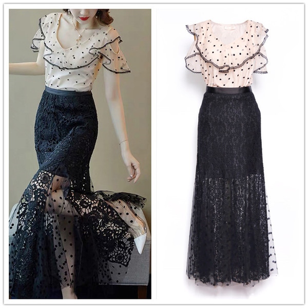 Designer Women Dress Set 2019 Fashion Style Ruffled Collar Blouse Tops And Long Lace Gauze Skirts Two Piece Party Cocktail Suits