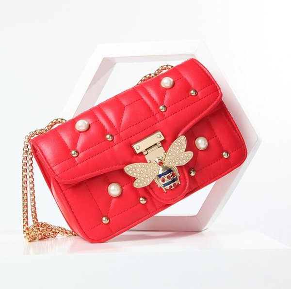 Wholesale brand women handbag classic lattice leather chain bag sweet cute diamond-encrusted bees shoulder bag fashion Pearl shoulder bag