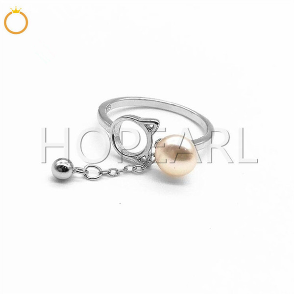 ring blank without pearl cute cat designs for girls solid sterling silver setting diy gift jewellery