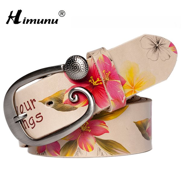 [HIMUNU] Fashion Genuine leather woman belts Pretty Floral Belt for women jeans New wide Female belt High quality Cowskin Girdle