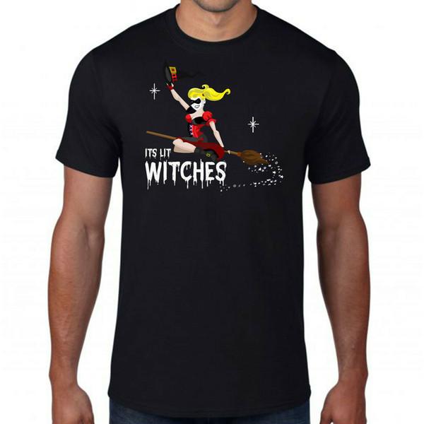 Son Sorcières Lit Halloween T-shirt, Broomstick Harley Quinn Spooky adultes Enfants Top