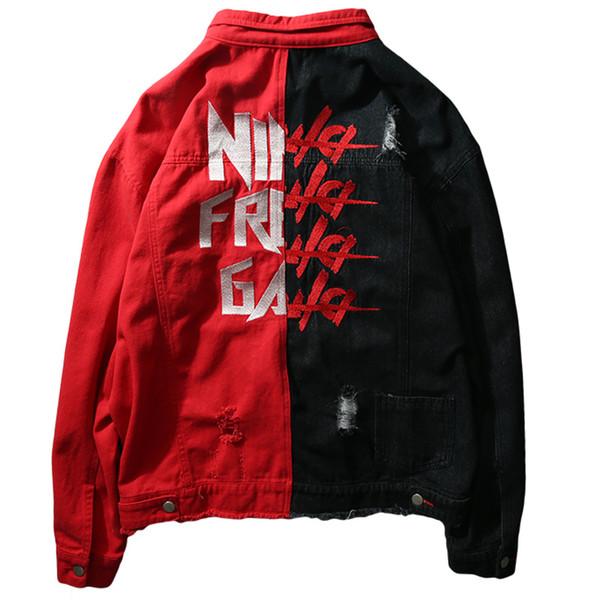 Мужская хип-хоп пальто куртки Kanye High Street Style Джинсовая куртка Trucker Rugged Wear беспрокладочную Denim Азиатский размер S-XXL