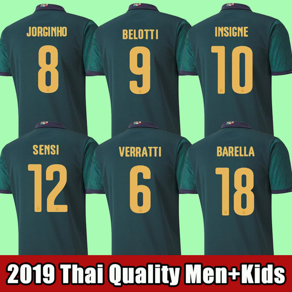 top popular 2019 2020 ITALY soccer jersey INSIGNE Renaissance BONUCCI football shirt CHIELLINI BERNARDESCHI BELOTTI SENSI BARELLA Third Men + Kids 2019
