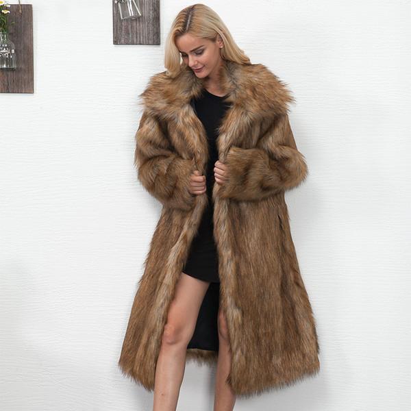 Femmes d'hiver Taille Plus fausse fourrure Manteau long Slim Épaissir chaud Veste Poilu Trendy chaud d'extérieur Manteau de fourrure Trench SH190930
