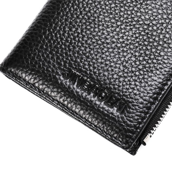 Hot Sale New Slim Business Card Cow Leather Men Long Wallet Zipper Brand Design Card Hold Double Fold Wallet High Quality Card Holder Purse