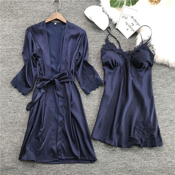 Women New Ladies Sexy Satin Silk Night Dress Bathrobe Nightgown Sets 2019 Kimono Lingerie Nightwear Sleepwear Robe De Nuit Femme