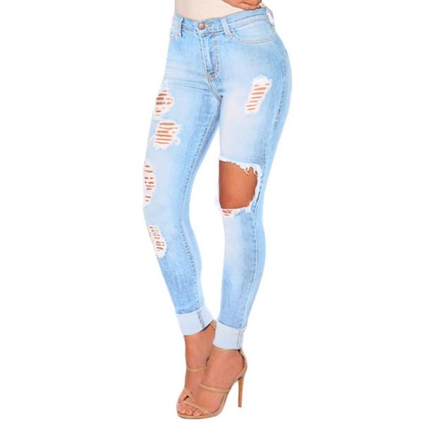 2019 jeans di modo di alte donne della vita denim slim fit jeans strappati cotone Hole Miscela Casual Lady Streetwear pantaloni lunghi pantaloni