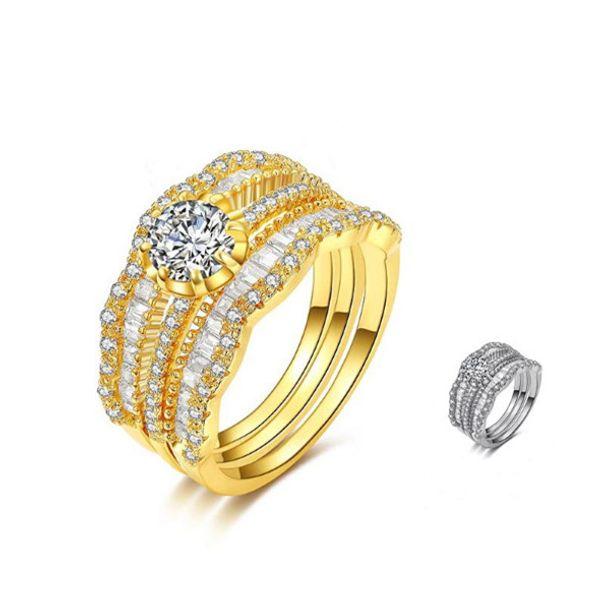 Acheter 2019 Argent Couleur De Luxe S Mode Bague De Mariage Ensemble Cubique Zircone Bijoux Pour Femmes Comme Cadeau De Chirstmas De 895 Du