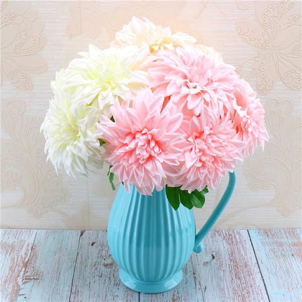 Yüksek dereceli ipek çiçek simülasyon 5 kafa dahlia demet düğün gelin buketleri ev dekorasyon sahte çiçekler fotoğraf sahne