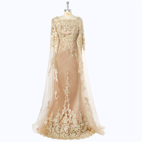 2019 Hot Sale Gold Lace Appliques Mermaid Mother of The Bride Dresses Custom Long Sleeves Backless Mother's Dress Custom Wedding Guest Dress