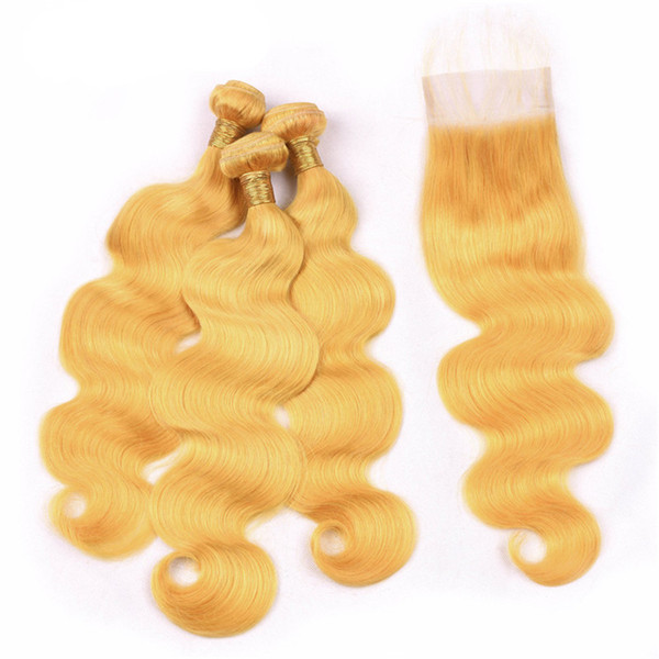 Helles gelbes Haar mit Spitzenschließung Brasilianische Jungfrau-Menschenhaar spinnt mit Spitzenschließung Jungfrau-Haar-Erweiterungen mit Spitzenklappe