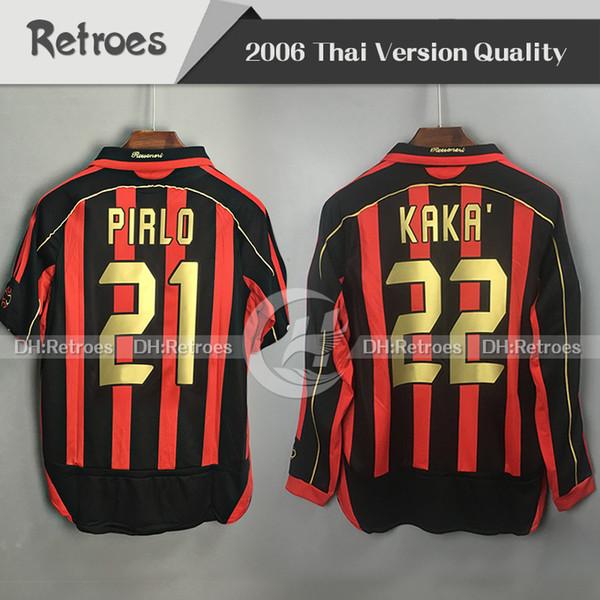 06 07 Retro milan Soccer Jersey KAKA RONALDO GILARDINO INZAGHI Retro Camiseta 2006 2007 Long sleeve milan soccer jersey classic vintage