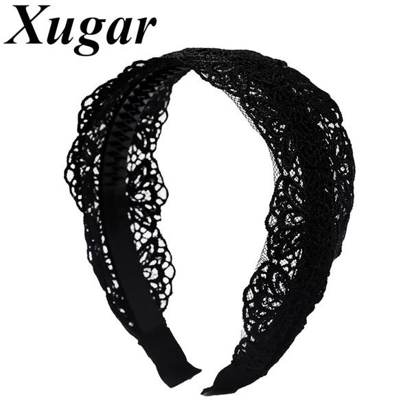 Lady Retro Lace Flower Headband With Teeth plástico sólido Double Layer Mulheres faixa de cabelo largas Cabelo Hoop Acessórios headwraps
