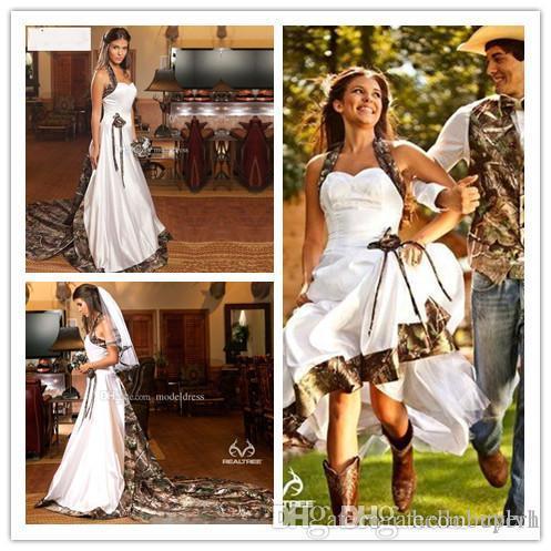 Compre 2018 Vestidos De Novia De Camuflaje Vintage Cariño Halter Vaqueras Vaqueros De Camuflaje Vestidos De Novia Vestidos De Novia Vestidos Tren De