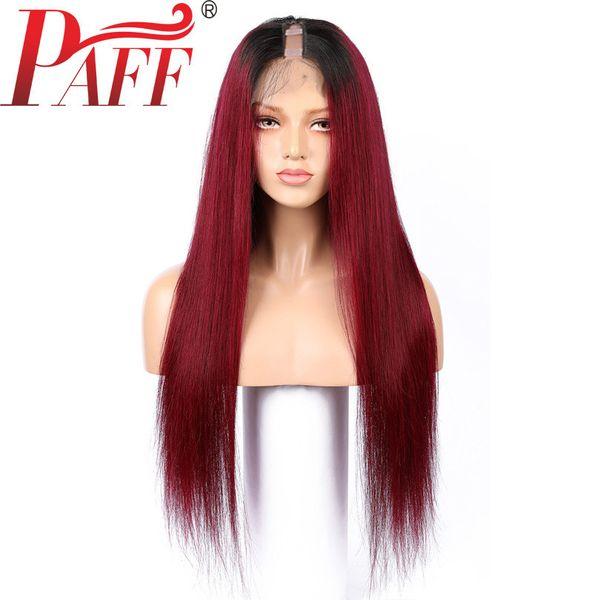 PAFF Ombre Kırmızı 1 * 3 Orta Açılış U Parçası Peruk İpeksi Düz 99J Brezilyalı Remy İnsan Saç U Parçası Peruk