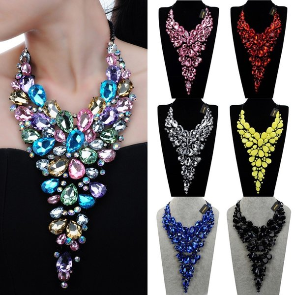 8 Colors Fashion Black Chain Crystal Acrylic Resin Choker Statement Pendant Bib Necklace Water Drop Big Crystal Necklaces Gift J190531