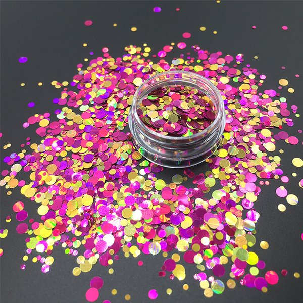 New Colorful Sequins Round Shape Laser Shining Flakes Nails Glitters Cosmetic For DIY Art Face Fairy Body Decorated 1.5g/Bottel
