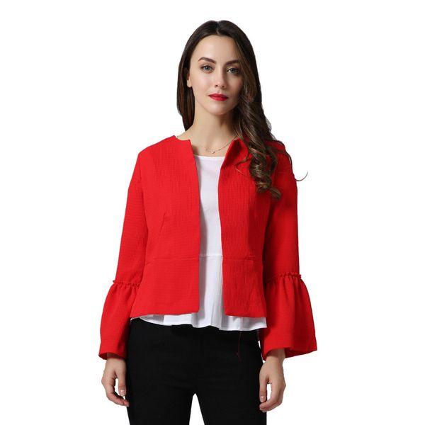 Denim Femmes Élégant Solide Veste Ouverte Conception De La Conception Flare Sleeve Manteaux Noir Rouge Femme Occasionnel Survêtements Tops Court