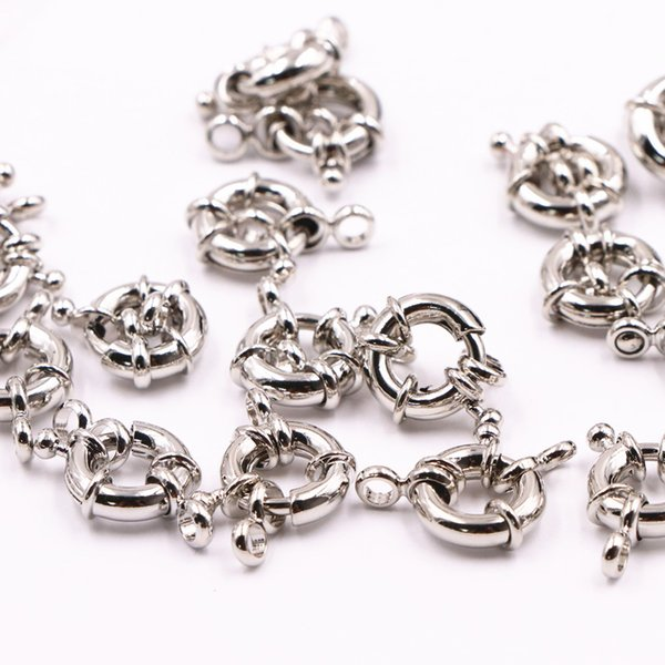 Wholesale 30pcs Metal Spacers Connectors Hook Clasp for Jewelry Making Round 11mm 13mm DIY Necklace Bracelet Hooks Finding A538