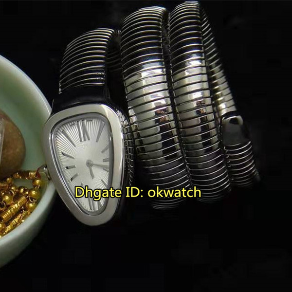 9 estilo Serpenti Tubogas Quartz Womens Watch 101911 SP35C6SS.2T White Dial aço inoxidável longo enrolamento pulseira senhoras relógios