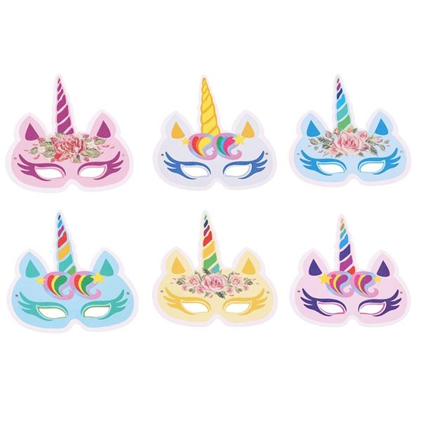 6PCS Children Party Masks Unicorn Rainbow Birthday Paper Headbands Masks For Kids Favor Baby Shower Decoration Wedding Supplies