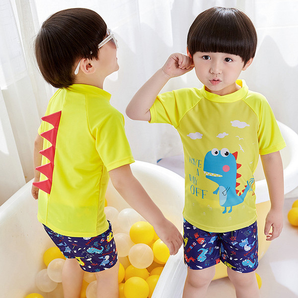 WBTRO Children Kid Boy Swimsuit Cartoon Two Pieces Swimming Bathing suit Beach clothing Swim Cap Dinosaur Swimwear Free shipping