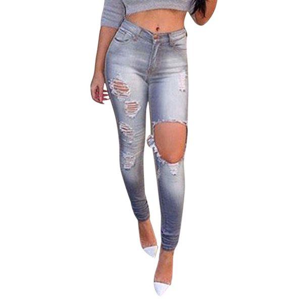 Ripped Elastic Mulheres Denim Jeans Buraco Rasgado Cintura Alta Senhoras Mãe Denim Calças Femme Boyfriend Jeans para As Mulheres