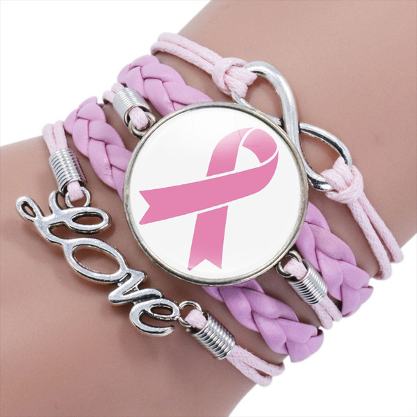 New Pink Ribbon Breast Cancer Awareness Bracelets For Women Faith Hope Cure Believe Charm Bangle Fashion Inspirational Jewelry