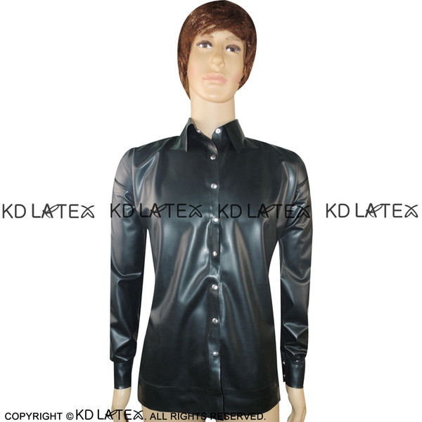 Black Sexy Latex Jacket With Buttons At Front Press Collar Fetish Rubber Coat Plus Size Hot Sales YF-0013