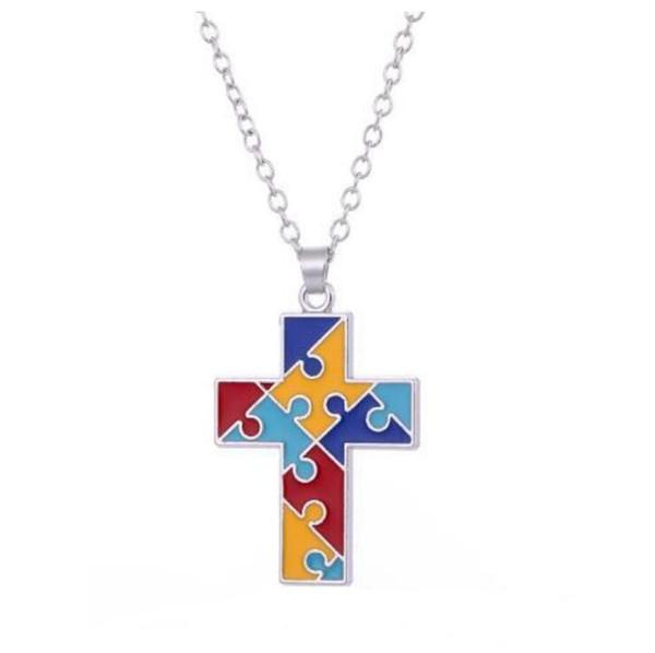 GX107 Novo Estilo Esperança Jóias Multi-Colored Esmalte Cruz Em Forma de Coração Enigma Pedaço Pingente Cadeia Colar Colorido Pingente Colares para menina