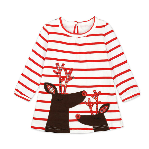 Christmas Clothes Girl Clothes Long Sleeve Girls Dress Toddler Baby Kids Girls Deer Printed Striped Party Princess Dress