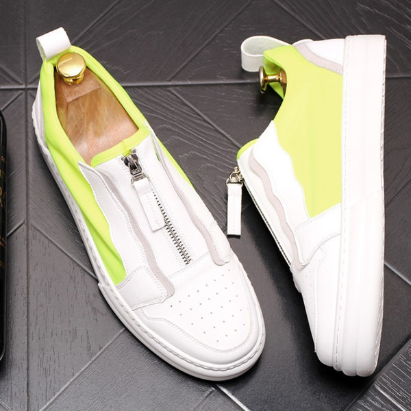 Lüks platform beyaz ayakkabı, moda loafer'lar, çok yönlü tek ayak rahat ayakkabılar, web ünlü nefes tahta ayakkabı erkekler rahat ayakkabılar W69