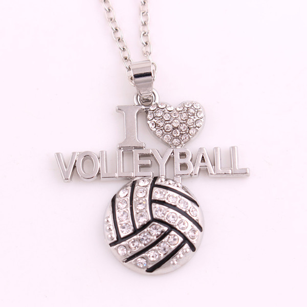 I Love Volleyball Ball Charm Crystal Necklace Sports Men and Women Jewelry for Love Ball Sports People Gift