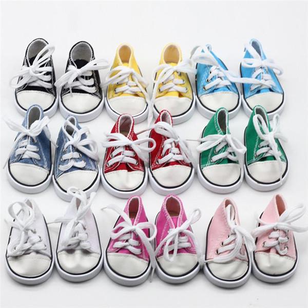 18 inç Bizim Nesil Amerikan Kız Erkek Bebekler Aksesuarlar için 2018 Sıcak Satış 18 inç Bebek Ayakkabı Canvas Lace Up Sneakers Ayakkabı