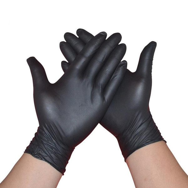 top popular Nitrile Gloves Black 100pcs lot 50 pairs Food Grade Waterproof Allergy Free nonMedical Disposable Work Safety Gloves Nitrile Gloves 2021
