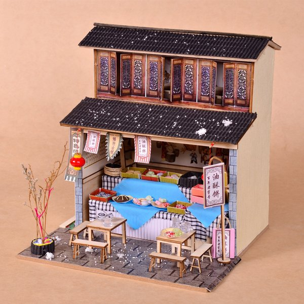 Japanese Style Diy Cabin Wooden Hand Assembled Attic Model Mini Diy House Material Creative Birthday Gift Miniatures And Dollhouses Lundby Dolls House