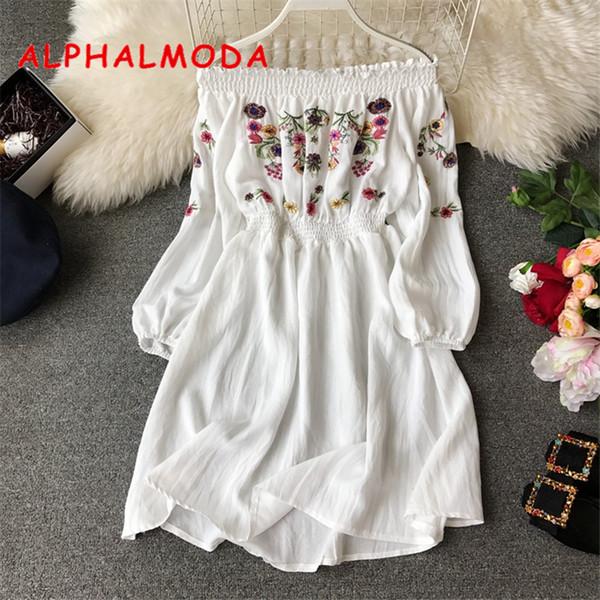 Alphalmoda 2019 Yeni Bayanlar Tatlı Nakış Çiçek Elbise Slash Boyun Uzun Kol Yüksek Bel Kadınlar Casual Bahar Vestidos Y19070901