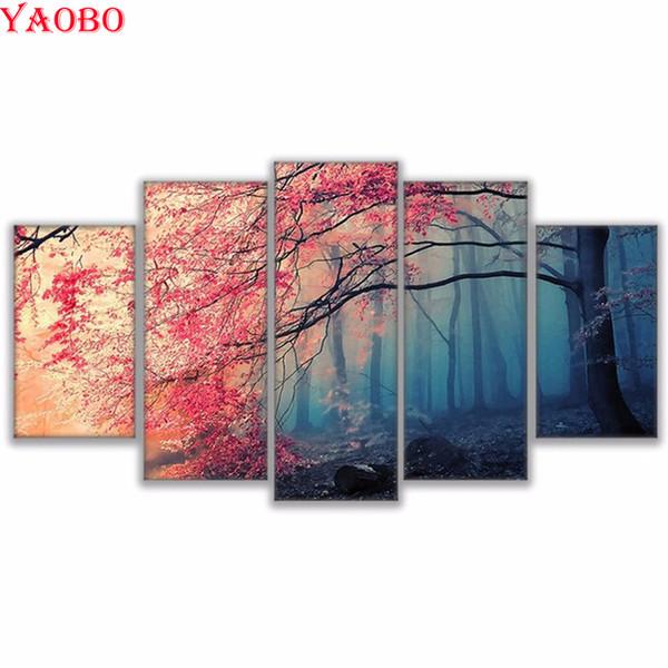 5 Piezas Bordado de Diamante herry Blossoms Red Trees Forest Mosaic picture Diy Diamond Pintura Paisaje Punto de Cruz Decoración de la habitación