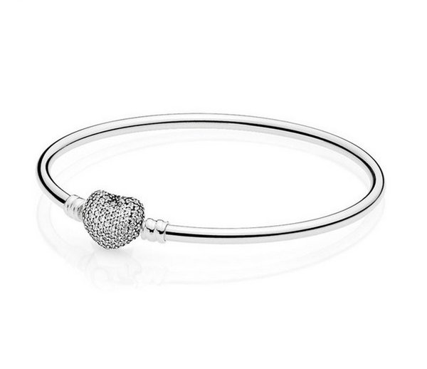 2019 New Wholesale 3pcs 925 Silver Gold Heart Clasp Bracelets 3mm Snake Chain Fit Charm Bead Bangle Bracelet Jewelry Gift For Women Jewelr
