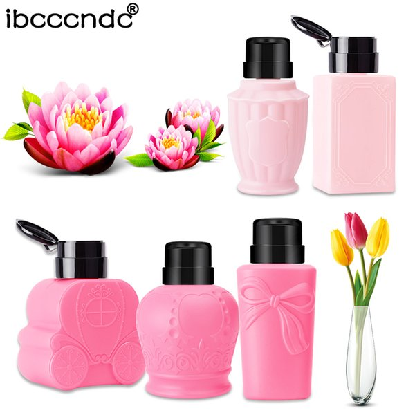 Large Capacity Empty Pump Liquid Alcohol Dispenser Press Nail Polish Remover Cleaner Bottle Make Up Refillable Container Tools