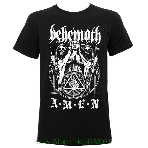 Behemoth Männer Amen Slim Fit T-Shirt Schwarz 2019 neue reine Baumwolle mit kurzen Ärmeln Hip Hop Mode Herren T-Shirt