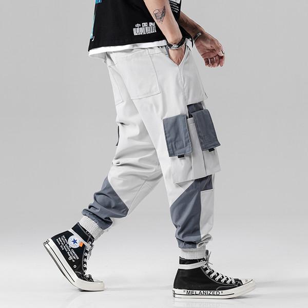 Cotton Men Cargo Pant Streetwear 2019 Color Block Hip Hip Harem Pant Pockets Japan Style Baggy Joggers Male Trousers