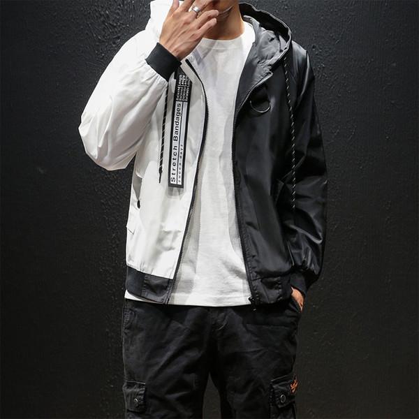 Erkekler Hafif Ceket Hoodie Coats 2019 Stil Moda Erkekler Kadınlar Siyah Ve Beyaz Splice Kapşonlu İnce WINDBREAKER Fermuar Coat ABD boyutu T200117