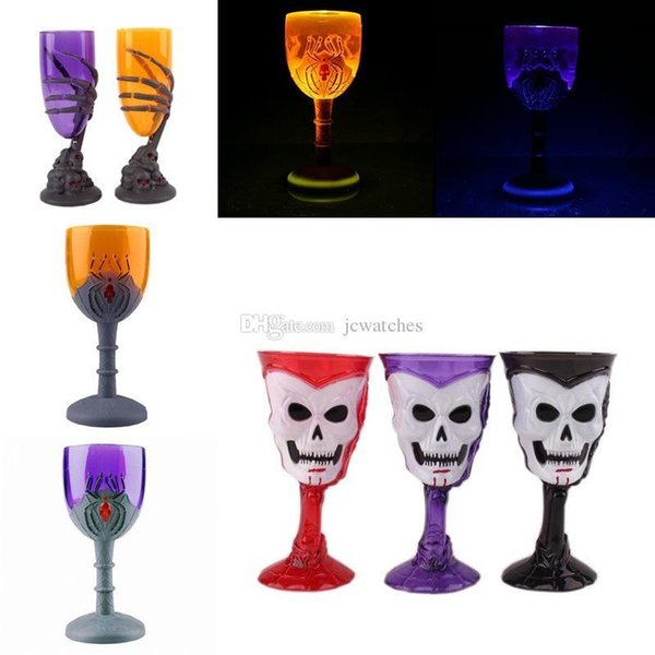 3 tazze luminose di Halloween di stile 3D Skull Spider Design Tazze a LED Flash Light Beer Vino rosso Cup
