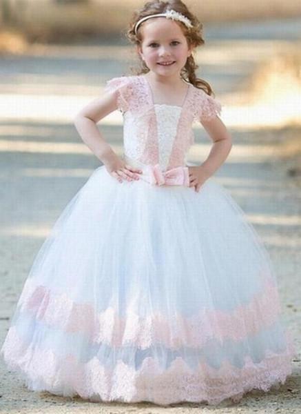 Mode Blanc d'Ivoire manches rose dentelle Applique robes fille fleur princesse anniversaire Communion Parti robe de bal